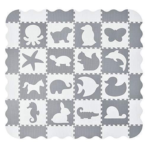 Juskys Kinder Puzzlematte Timon 36 Teile mit 16 Tieren in grau...