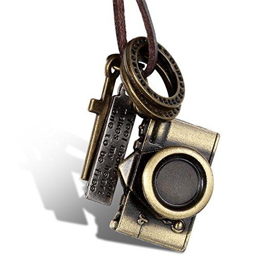 JewelryWe Schmuck Leder Halskette mit Kamera, Ringen, Kreuz und...