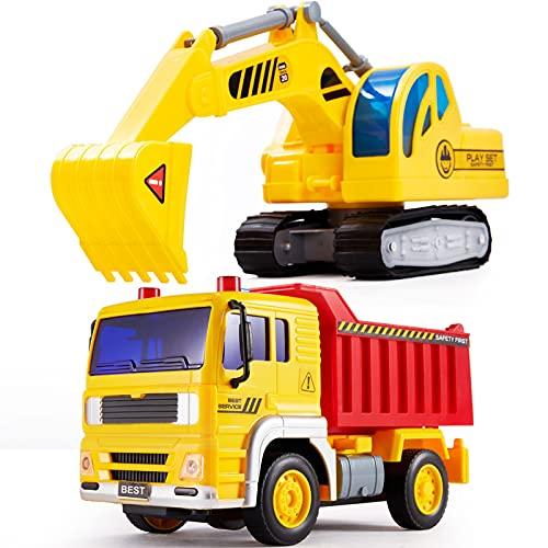 HERSITY Sandkasten Bagger Kipper Spielzeug, Baufahrzeuge Kinder...