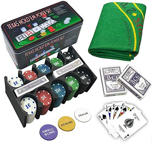 Poker Set   Pokerkoffer mit Buttons, Chips und Tischmatte   200...