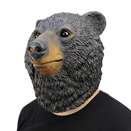 ifkoo Deluxe Black Bear Kopfmaske für Erwachsene, Latex