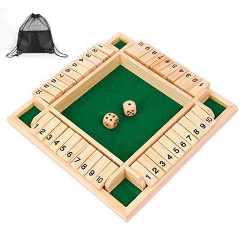 Siebwin Shut The Box 10er, 4-Spieler Würfelspiel Holz Brettspiel Klappenspiel Board...