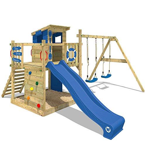 WICKEY Spielturm Klettergerüst Smart Camp mit Schaukel & blauer Rutsche, Baumhaus...