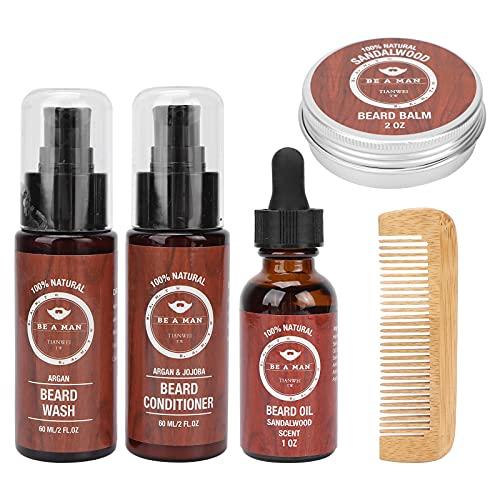 Bartpflege-Set, Bart-gesundes Bartöl-Look glänzend weich für...