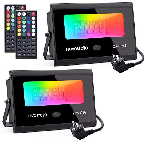 Novostella RGB Strahler 20W 2er-Set, LED Strahler Mit 44-Taste...