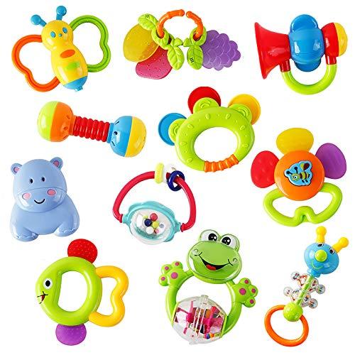 WISHTIME Rassel Beißring Set Baby Spielzeug ab 0 3 6 9 Monate 11...