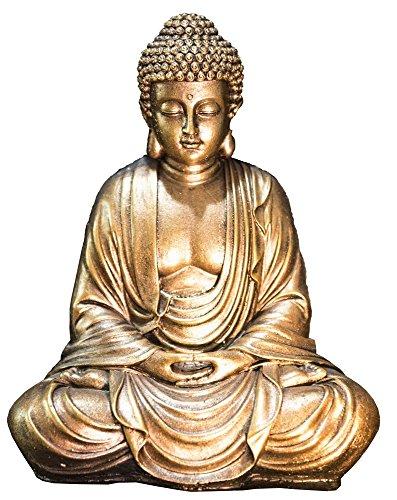 Zen'Light Buddha-Statue, Gold, Harz, 16 x 10 x 20 cm