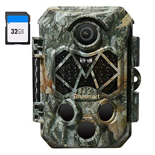 Blusmart Wildkamera 32MP 4K mit 32GB SD Card Infrarot-Nachtsicht...