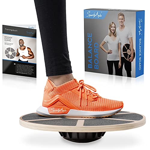 SportyAnis® Premium Balance-Board Holz inkl. Übungsbuch und...