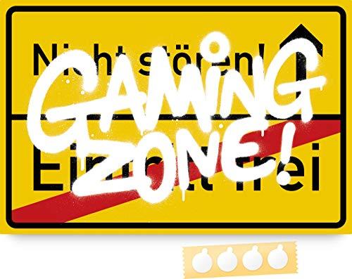 SkyFarm - Gaming Zone! 30x20 cm Wand- und Türschild, inkl. 4...