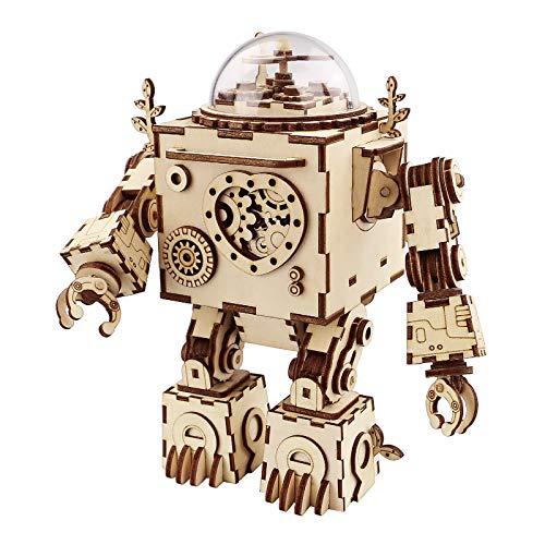 Robotime Roboter Spieluhr Holz 3D Puzzle Modell bausatz Erwachsene DIY Kinder Set Bauen...