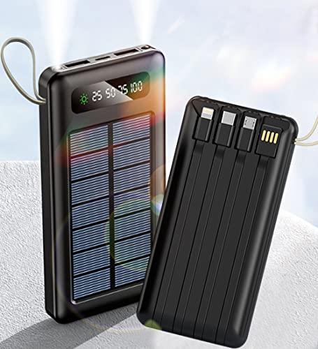 Solar Powerbank 20000mAh Externer Akku, Solar Ladegerät mit LED...