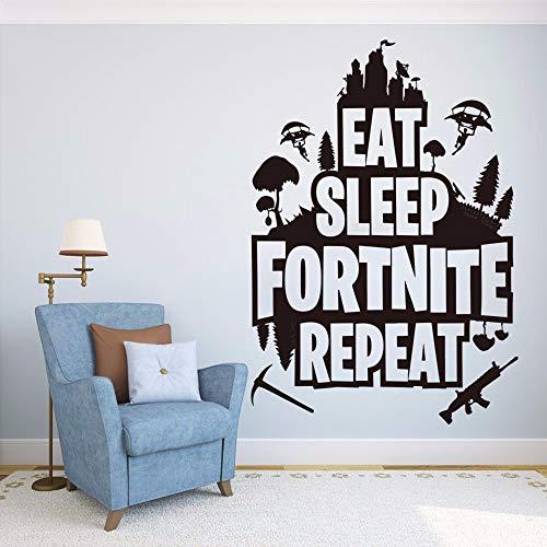 Dtcrzjxh Eat SleepRepeat Quote Wandtattoo Game Er Battle...
