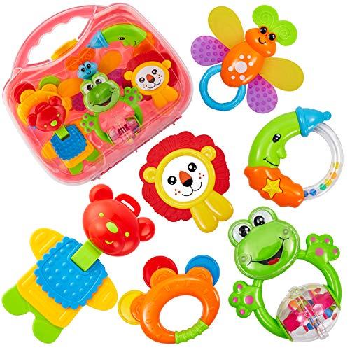 HERSITY Babyspielzeug ab 3 Monate Rassel Baby Beißring Set...