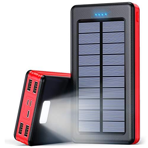 Solar Powerbank 30000mAh Externer Akku, Solar Ladegerät mit LED...