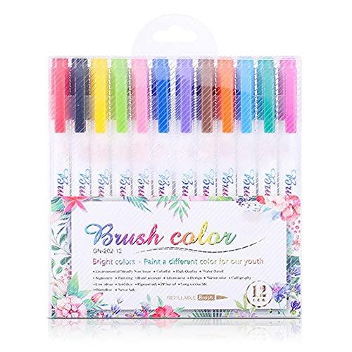 ETSK 12 fluoreszierende Farben Kalligraphie-Marker Pinsel Stifte...