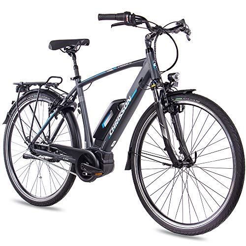 CHRISSON 28 Zoll Herren Trekking- und City-E-Bike - E-Rounder anthrazit matt - Elektro Fahrrad...