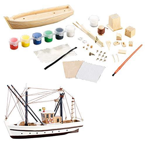 Playtastic Bausatz Boot Kinder: 40-teiliger Schiff-Bausatz Fischkutter aus Holz...