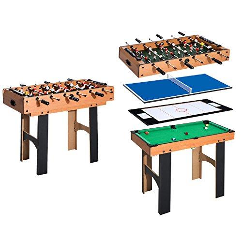 HOMCOM 4 in 1 Multi Spieltisch Tischkicker Tischfussball Kicker...