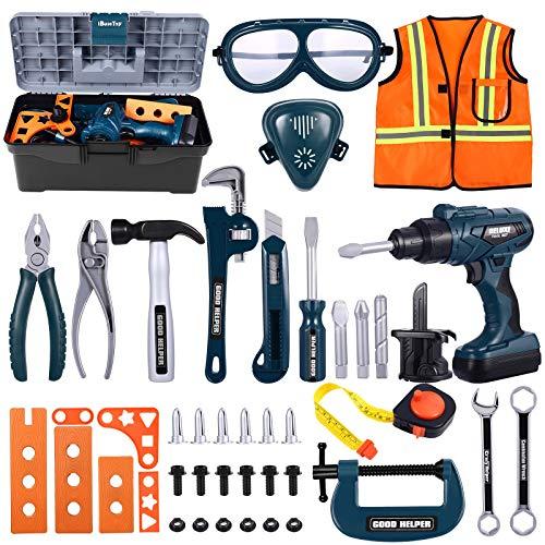 iBaseToy Werkzeugkoffer Kinder - 45 PCS Kinder Werkzeug mit...