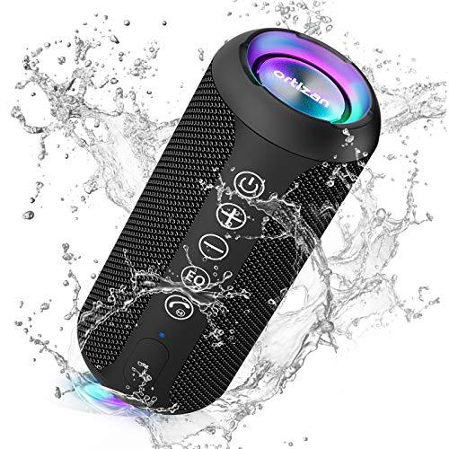 Ortizan Bluetooth Lautsprecher mit Buntem LED-Licht, Tragbarer...