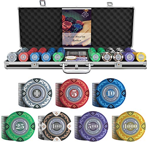 Bullets Playing Cards - Großer Pokerkoffer Tony Deluxe Pokerset...