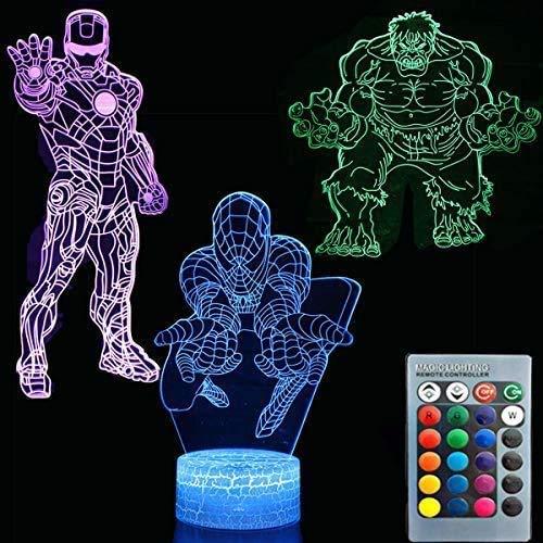 3D Illusion Avengers Superheld Nachtlicht Drei Muster Iron...