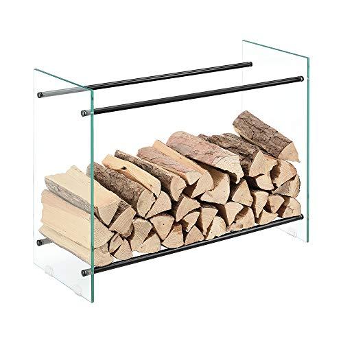 [en.casa] Kaminholzregal aus Glas 80x60x35cm Feuerholzständer...
