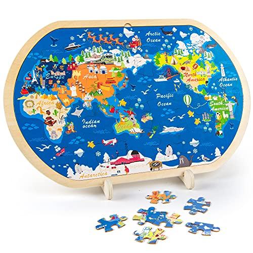 VATOS 44-teilige Holzpuzzles für Kinder, Weltkarte Puzzle für...