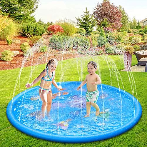 Anpro 170CM Splash Pad, Sprinkler Wasser-Spielmatte Splash Play...