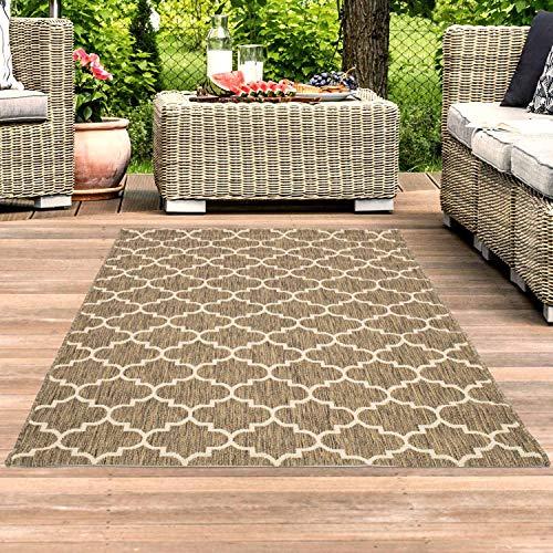 Outdoor Teppich Beige - 160x230 cm - Terrasse Balkon Teppiche...
