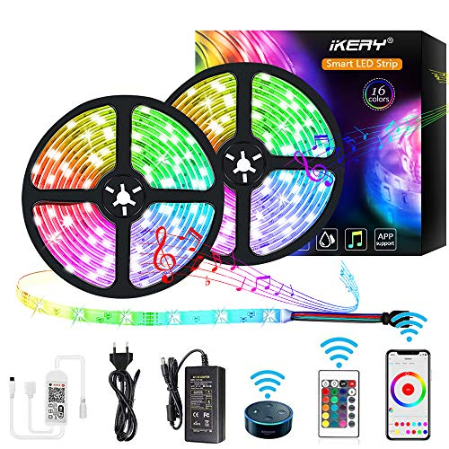 IKERY LED Strip Lichtband 10M, Wifi RGB Dimming Lichterkette...