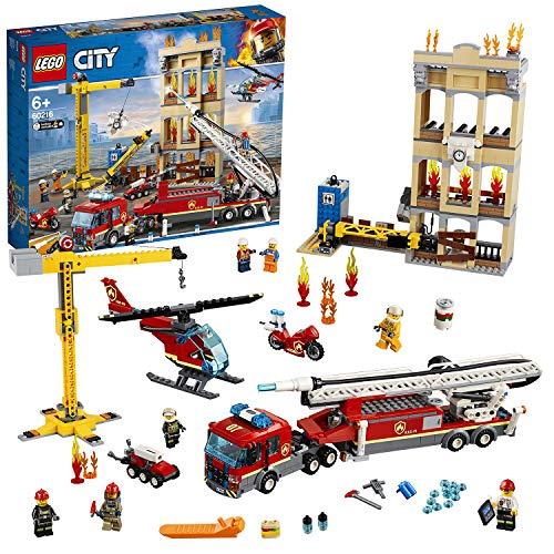 LEGO 60216 City Feuerwehr in der Stadt, Bauset mit Feuerwehrauto, Kran, Hubschrauber,...