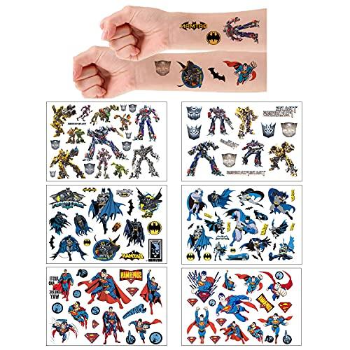 6 Sheets Temporäre Tattoo Set Superman Batman Transformer...