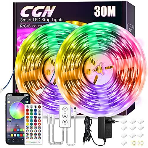 30M LED Strip Bluetooth, CGN LED Streifen RGB 5050 Smart LED...