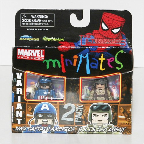 Marvel MiniMates Series 27 Mini Figure 2-Pack Ultimate WW2 Captain America Variant and Shield...