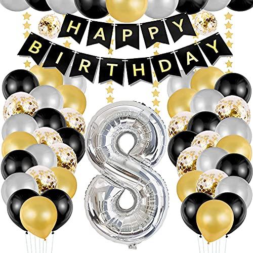 TOPHOPE Luftballon 8. Geburtstag Silber Happy Birthday...