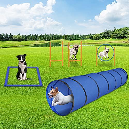 GNEGNIS Agility Set für Hunde mit Hunde Tunnel Sprungring Slalom...