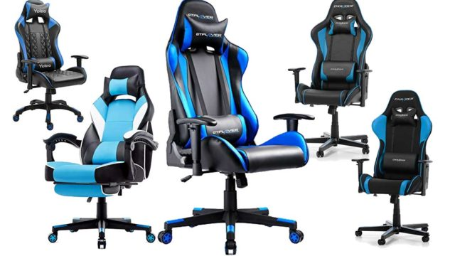 Blauer Gaming Stuhl in Blau Design