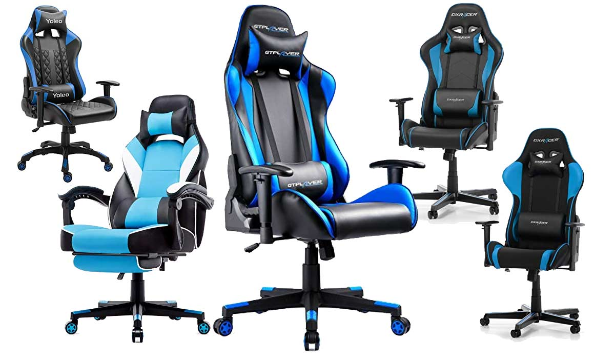 Blauer Gaming Stuhl in Blau Design