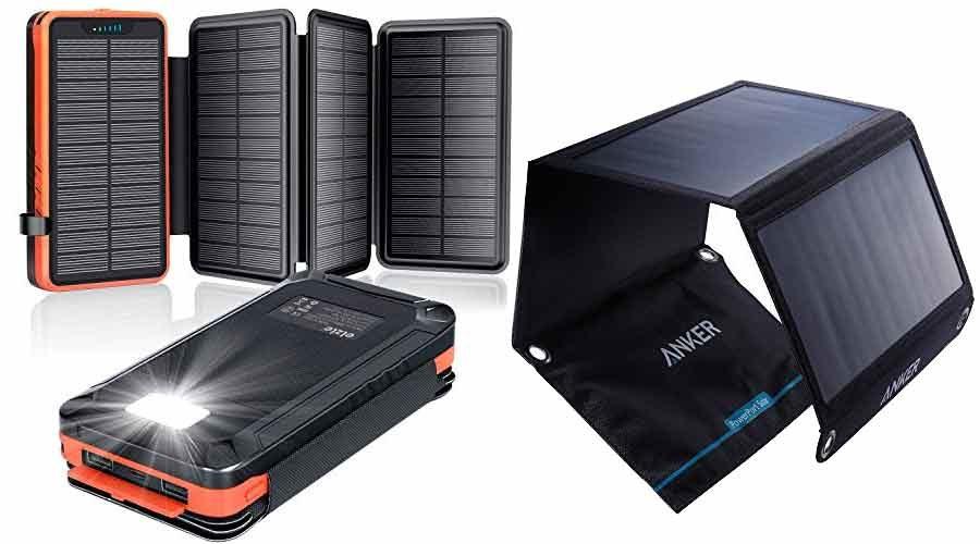 Solar Panel und Powerbank alsSolarladegeräte
