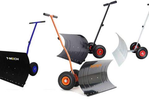Schneeschaufel mit Rädern